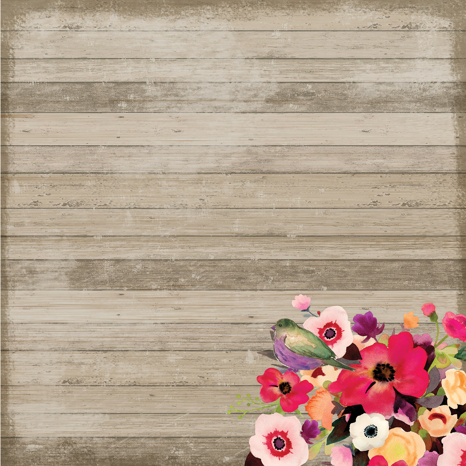 Find the Wood Planks Floral Scrapbook Paper By