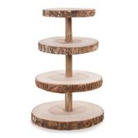 David Tutera 4-Tier Rustic Wood Slice Cupcake Stand