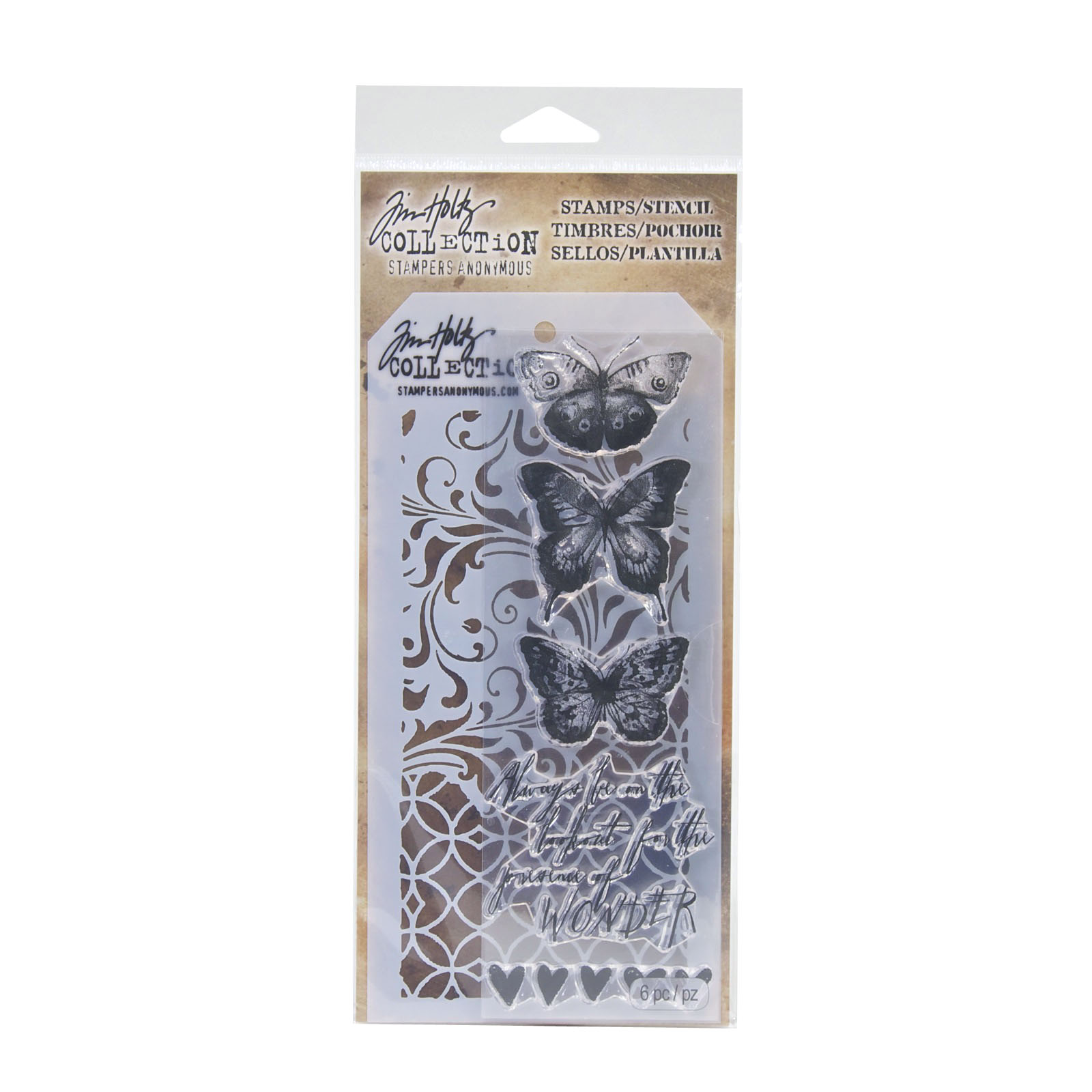 Tim Holtz® Stampers Anonymous Stamps & Stencil Set, Butterflight