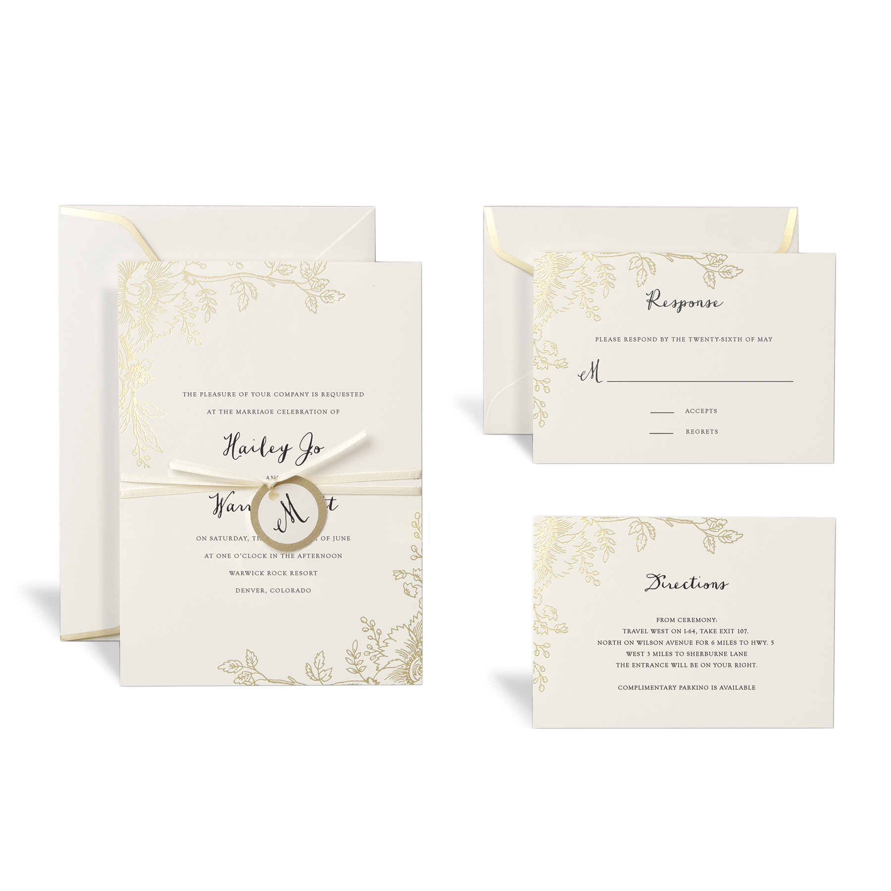 Shop for the Floral Gold Wedding Invitation Kit By Celebrate It at Michaels