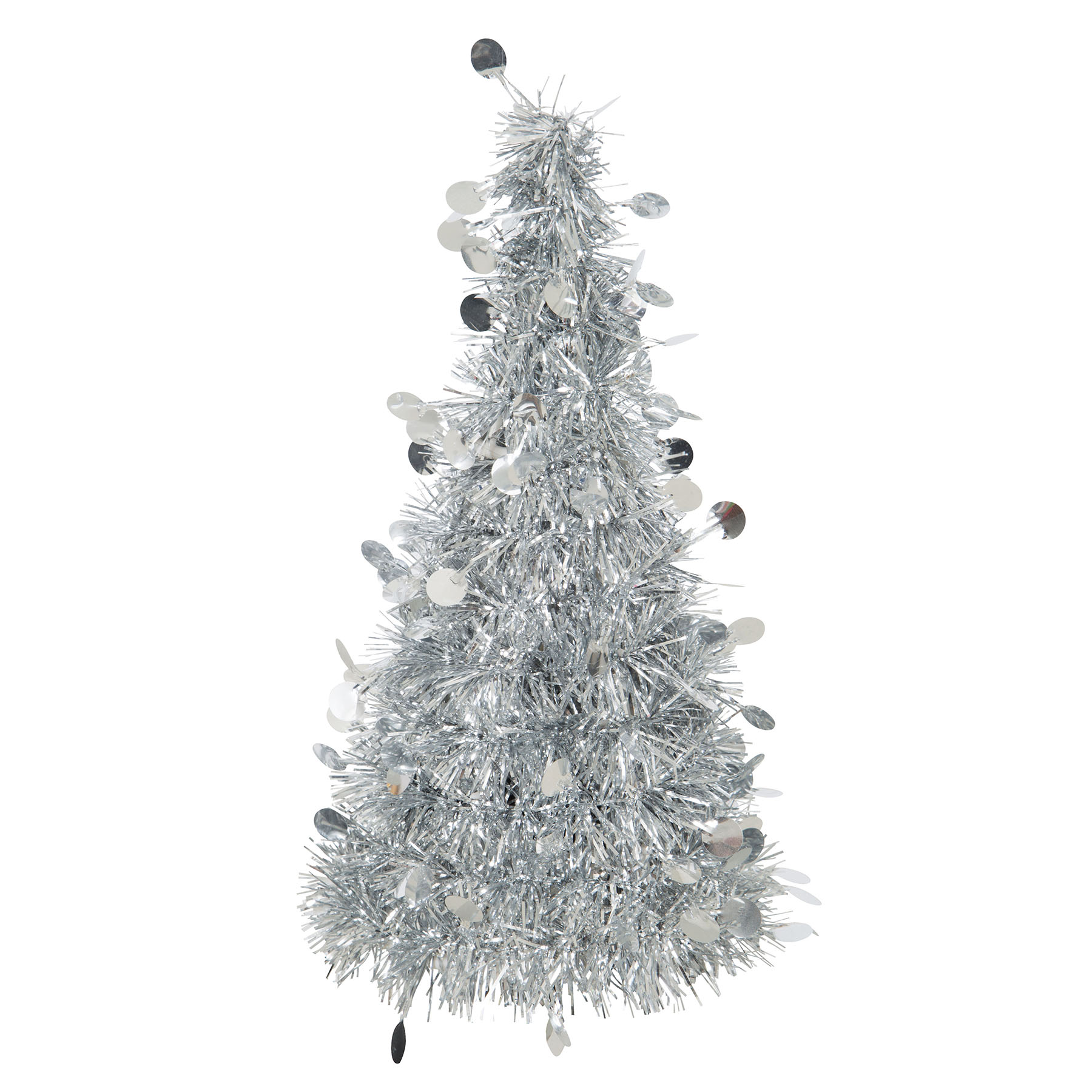 Color Wheel Silver Tinsel Christmas Tree