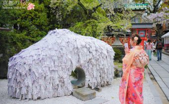 京都賞櫻》安井金比羅宮 幫你斬孽緣結良緣的神社 櫻花悄悄開的超美