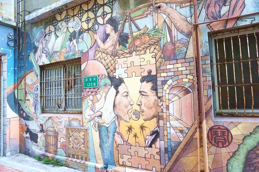 台南中西區景點 新美街彩繪巷 融入在地社區風格 新美街125巷彩繪牆 近赤崁樓