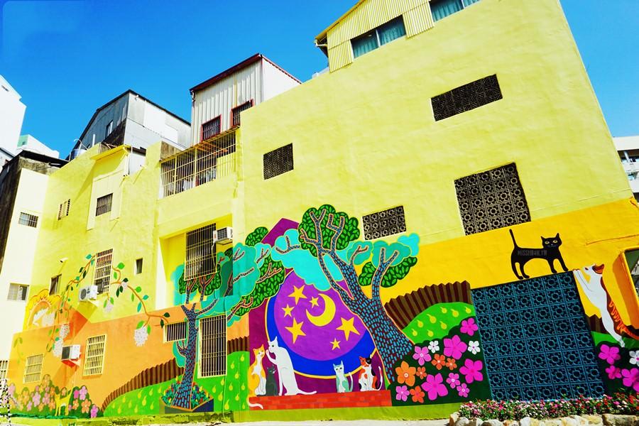 台南中西區景點 銀同社區 清水 彩色生活巷弄 貓咪高地 繽紛彩繪牆塗鴉