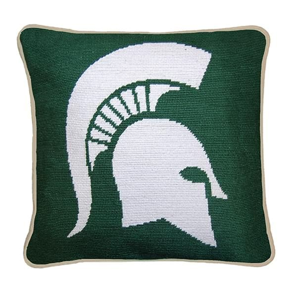 Michigan State Handstitched Pillow at MLaHart  Co