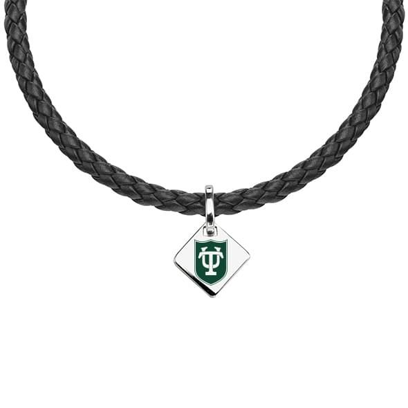 Tulane University Leather Necklace with Sterling Silver