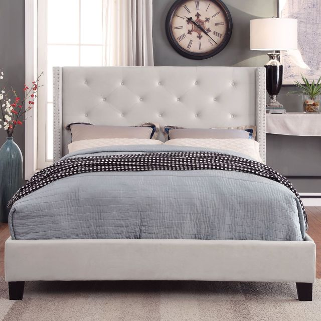 !nspire Lino Queen Bed (Ivory) - 101-255Q-IV | Modern ...