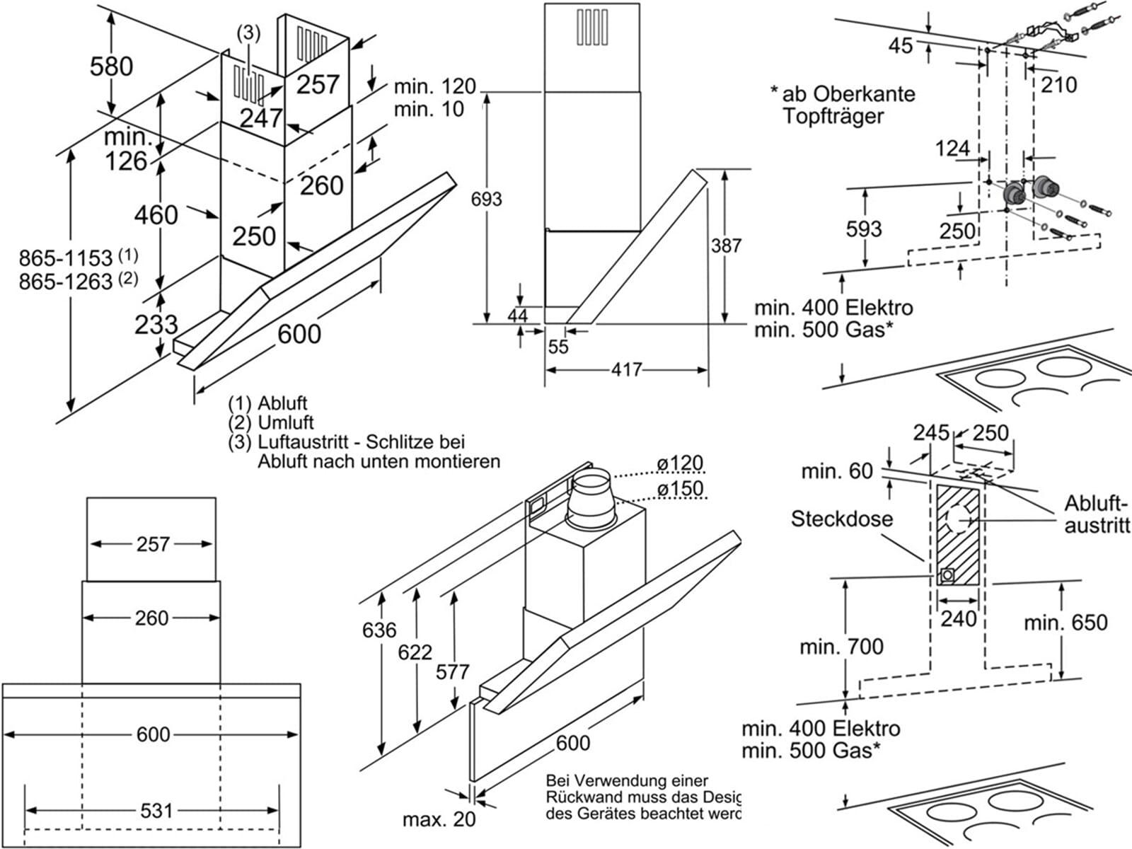 Bosch Ablufthaube Trendy Bosch Filter Metall Fettfilter