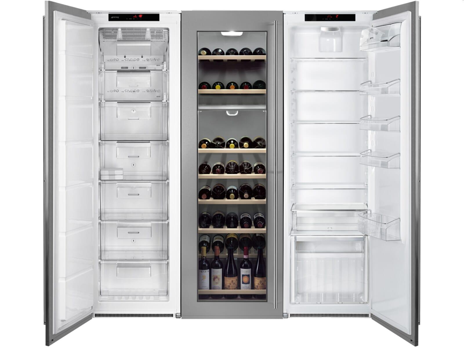 Smeg Kühlschrank Gefrierkombination : Side by side einbau kühlschrank küche schwarz glas grifflos mit