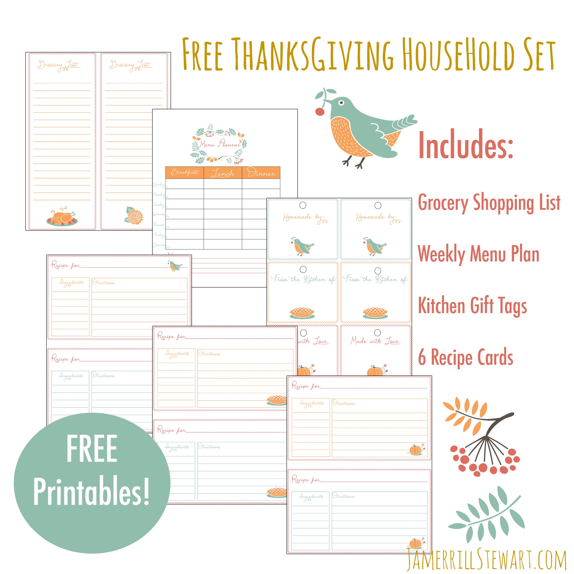 Free Thanksgiving Household Printables Set
