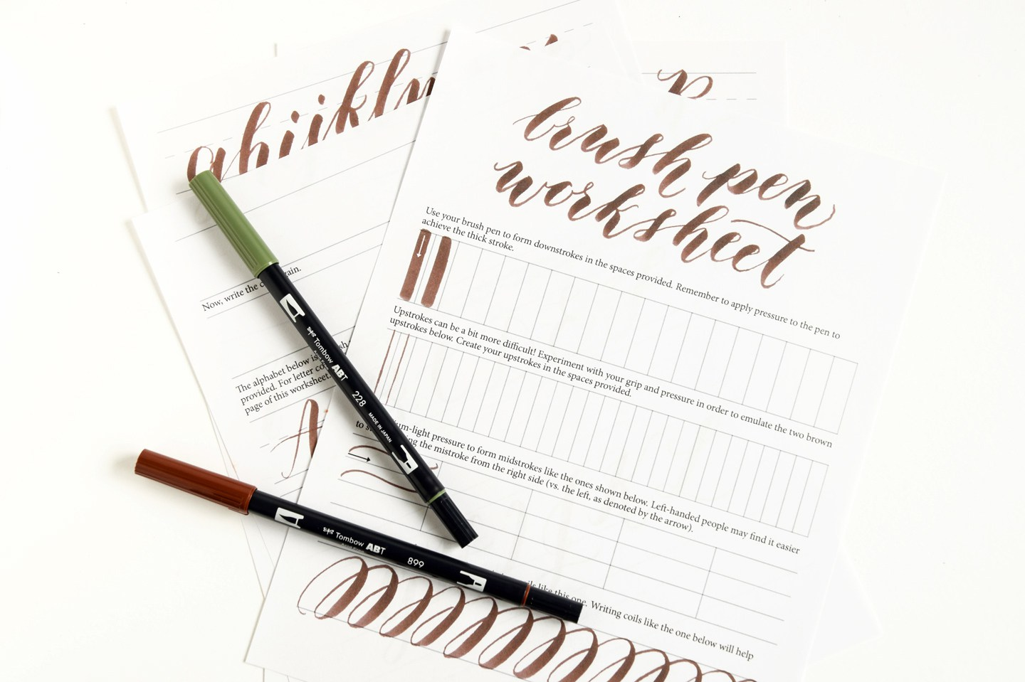 Free Printable Brush Pen Calligraphy Printable Worksheets