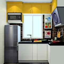 Kitchen Cabinets Set Buffet Table 尚品宅配厨柜效果图大全 这个小户型厨房设计 功能明确 厨柜以洗切煮流程设置 上方设计了吊柜 增加了空间的储物功能 整个空间的色彩搭配明亮简洁