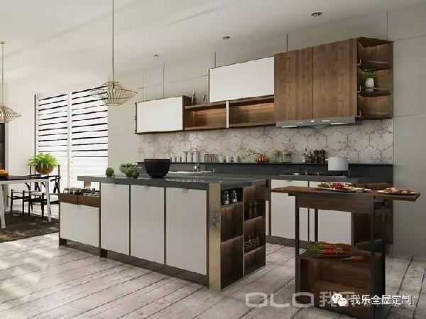 unique kitchen cabinets designs 我乐厨柜 你知道好厨房的共同点是什么吗 新中式厨柜是中国人心中的独特情结 左侧的餐具柜 右侧的移动餐车 中部的西式岛台 为传统中式厨柜增添了新的魅力