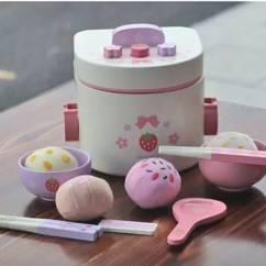 Kids Wooden Kitchen American Classics Cabinets 儿童节送个美味小厨房 30款玩具 Diy方案玩得欢 Mother Garden 野草莓木质电饭锅套装约150元