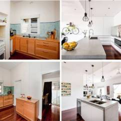 Modern Kitchen Backsplash When Remodeling A Where To Start 看看这13个古老的厨房在接受化妆后看起来像什么 过时的厨房里的木柜和蓝色瓦片后挡板被交易出来 用于清洁的白色橱柜 混凝土台面 工业吊灯 以及当代多彩的后挡板