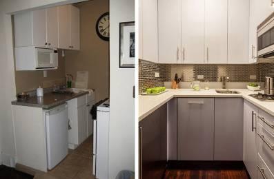 modern kitchen backsplash corner sink cabinet 看看这13个古老的厨房在接受化妆后看起来像什么 虽然尺寸保持不变 新的布局 新橱柜 不锈钢后挡板和新电器给了这个小厨房一个大的升级和更现代的外观