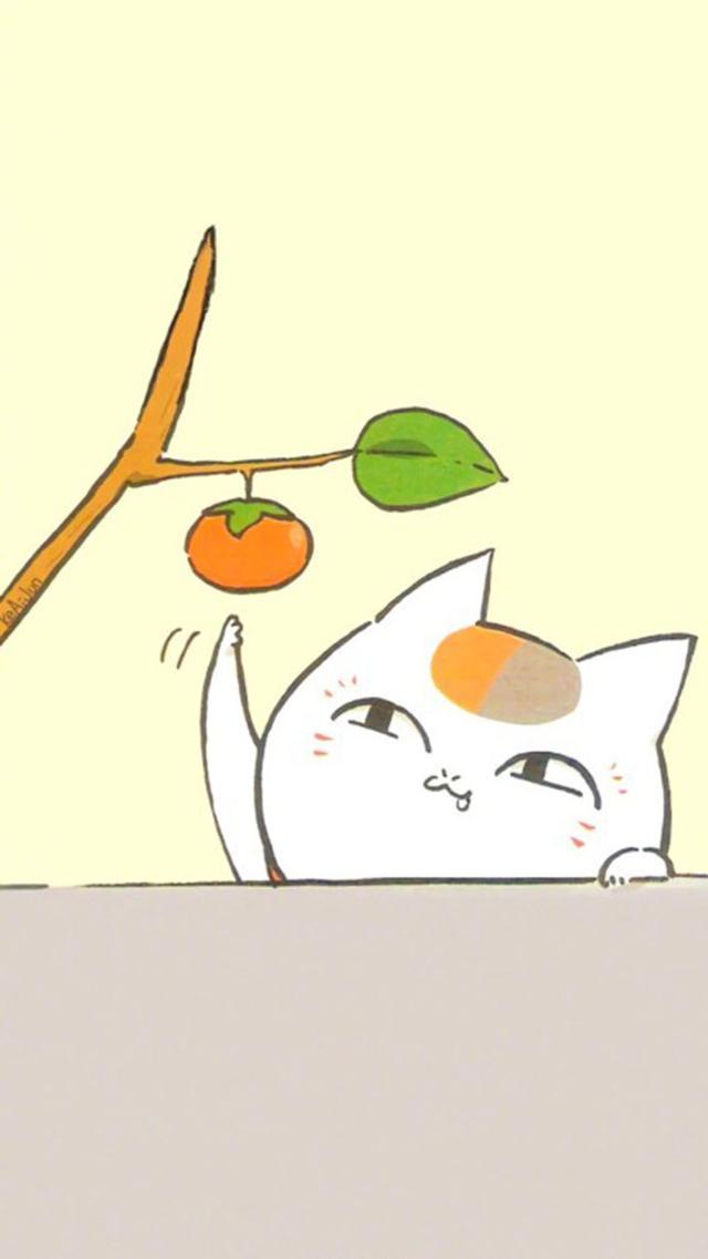 「鎖屏桌布」動漫夏目友人帳裡的貓咪老師 招財貓手機桌布 - M頭條