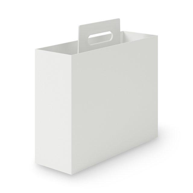 ポリプロピレン持ち手付きファイルボックス・スタンダードタイプ・ホワイトグレー