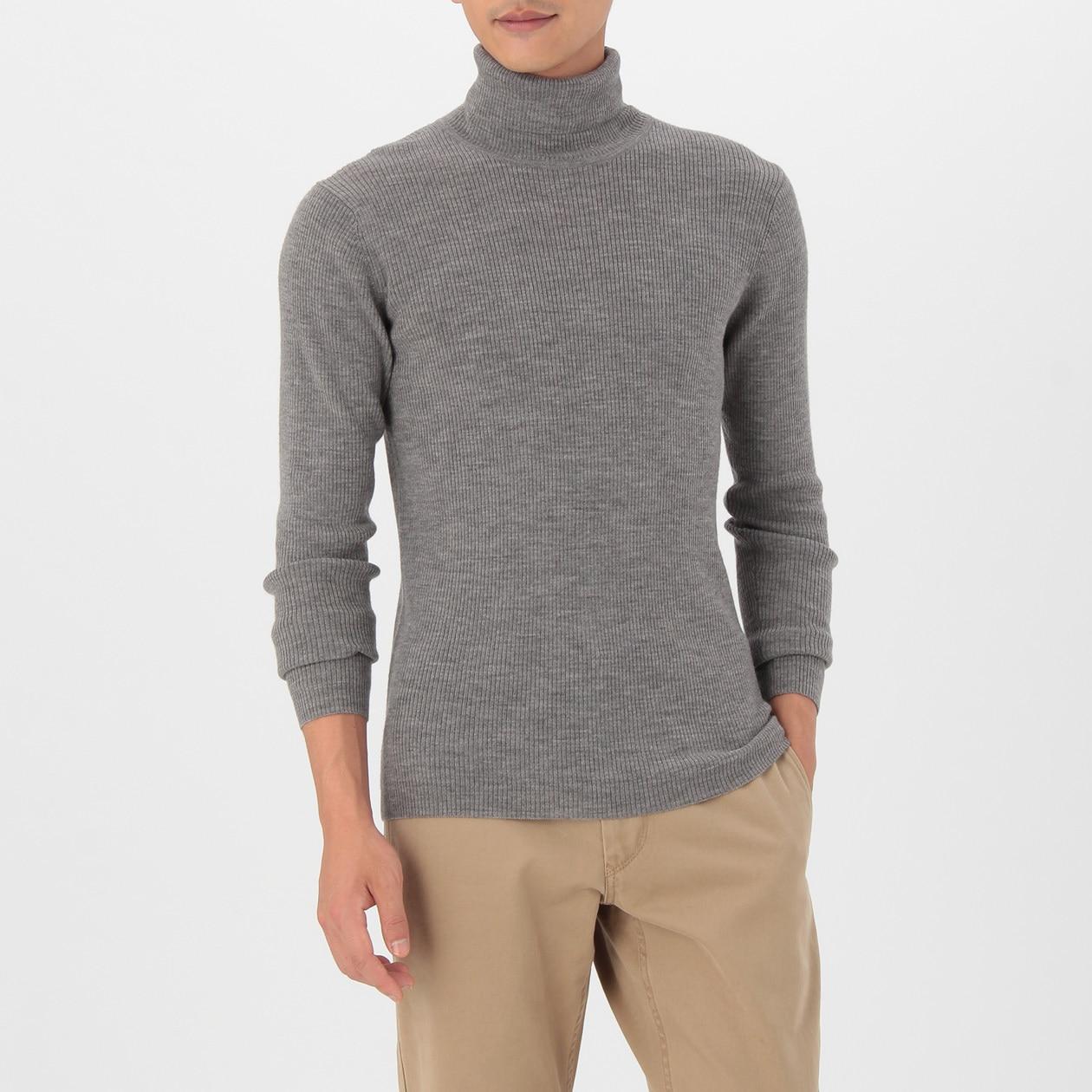男不易刺癢羊毛螺紋高領毛衣 灰色S | 無印良品
