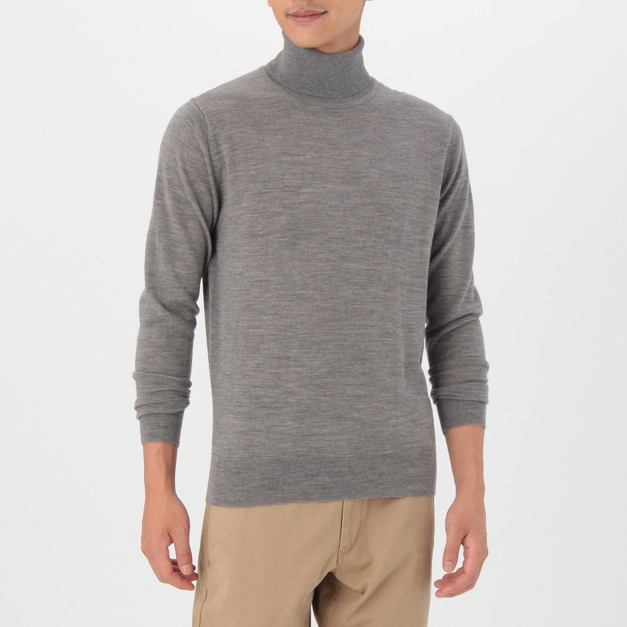 男不易刺癢羊毛天竺高領毛衣 灰色L | 無印良品