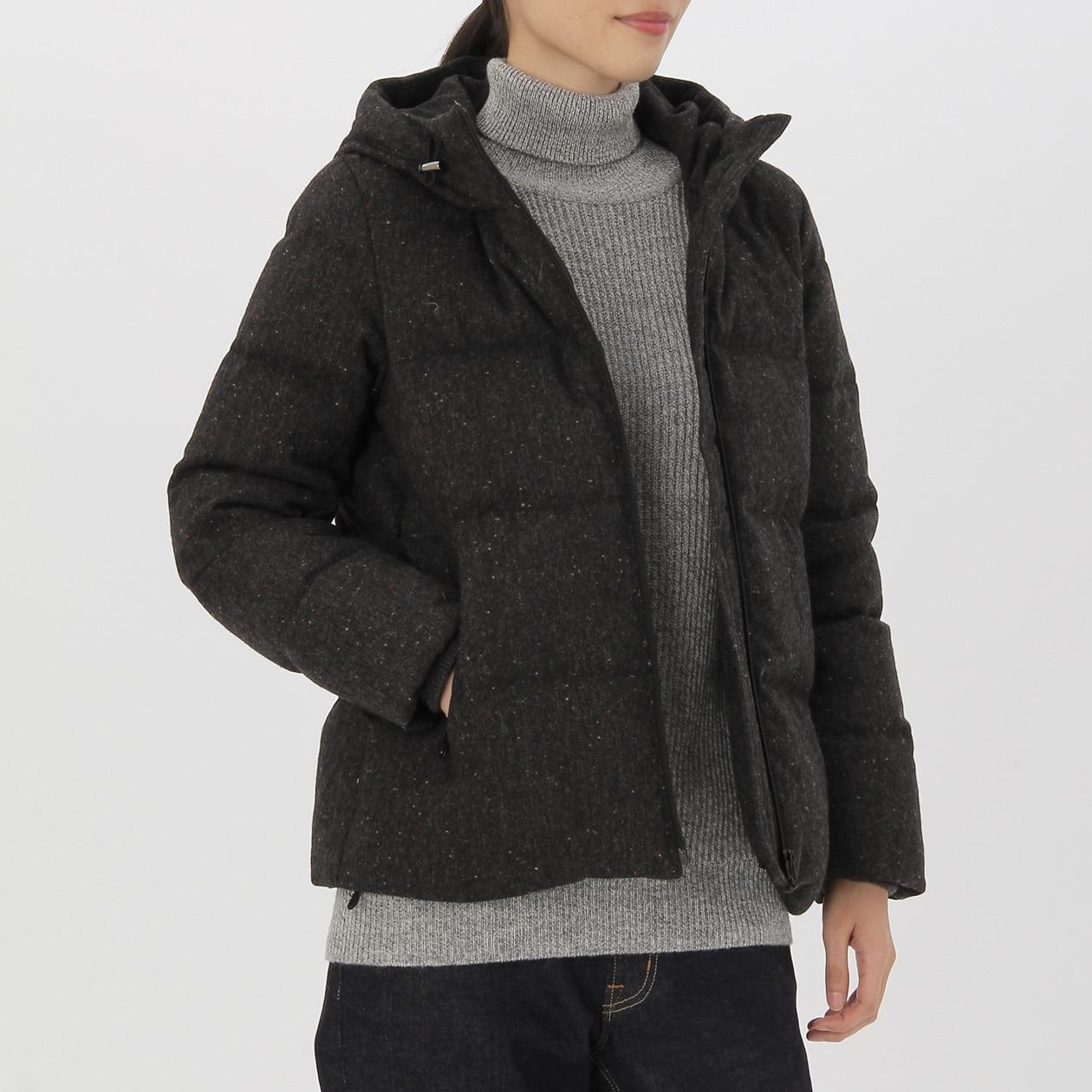 女再生羊毛混法國羽絨外套 深灰L | 無印良品