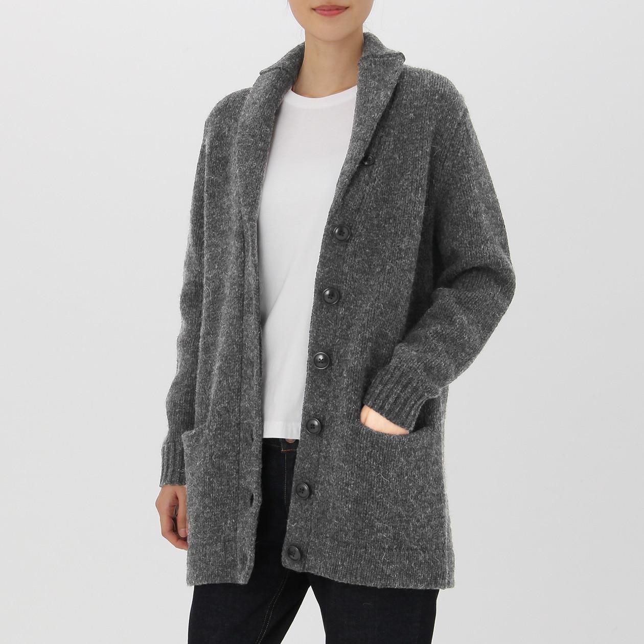 女美麗諾羊毛混粗毛絲瓜領開襟衫 灰色S | 無印良品