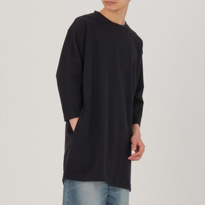 綿混二重編みロングTシャツ