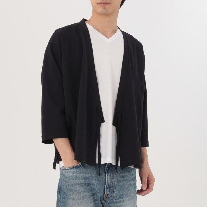 綿混二重編み作務衣カーディガン