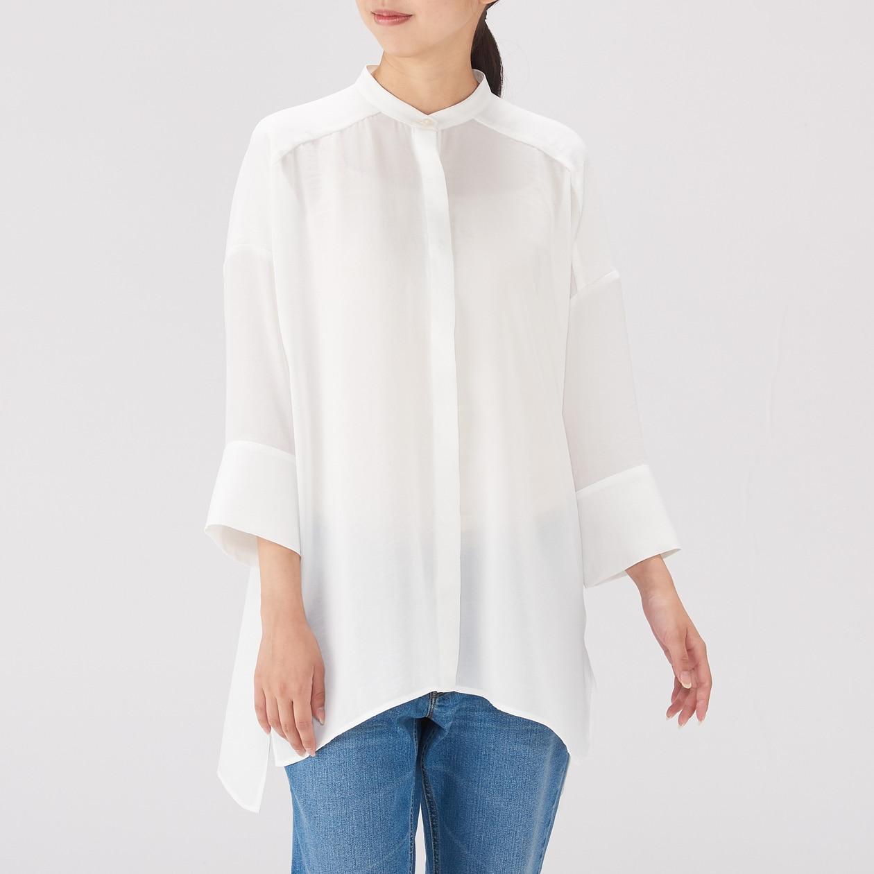 女聚酯纖維寬肩長版衫 白色ONE SIZE | 無印良品