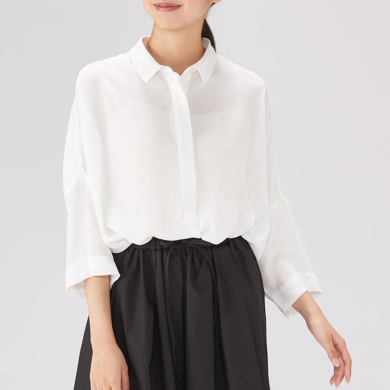 女聚酯纖維寬肩襯衫 白色ONE SIZE | 無印良品