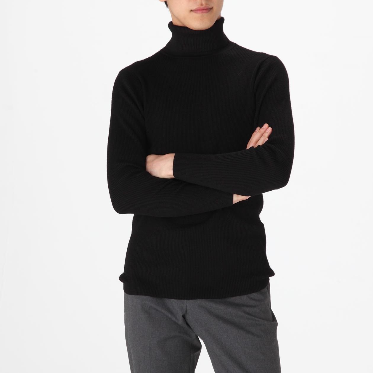 男不易刺癢羊毛螺紋高領毛衣 黑色S | 無印良品