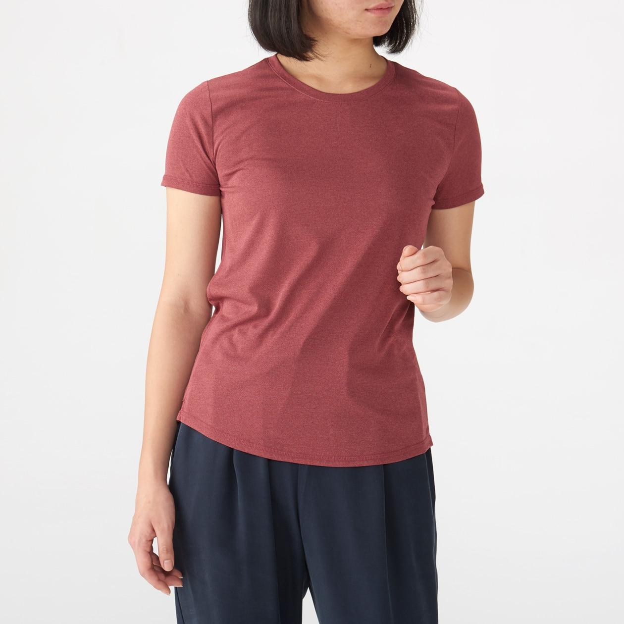 女吸汗速乾聚酯纖維短袖T恤 酒紅XL   無印良品