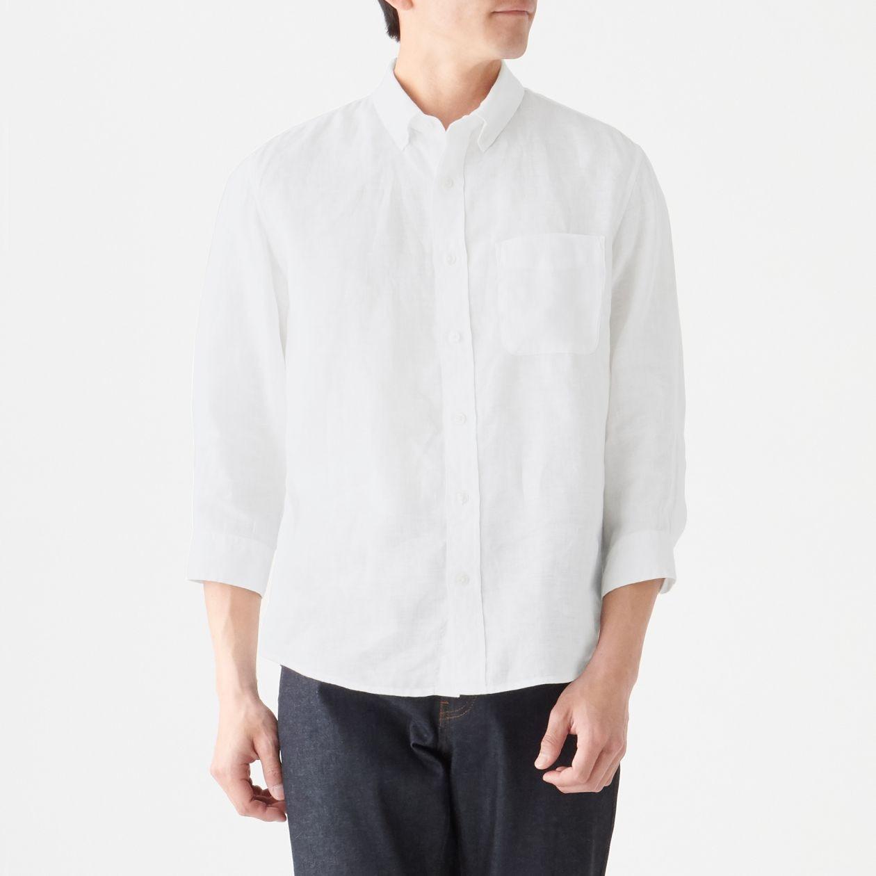 男法國亞麻水洗扣領七分袖襯衫 白色S | 無印良品
