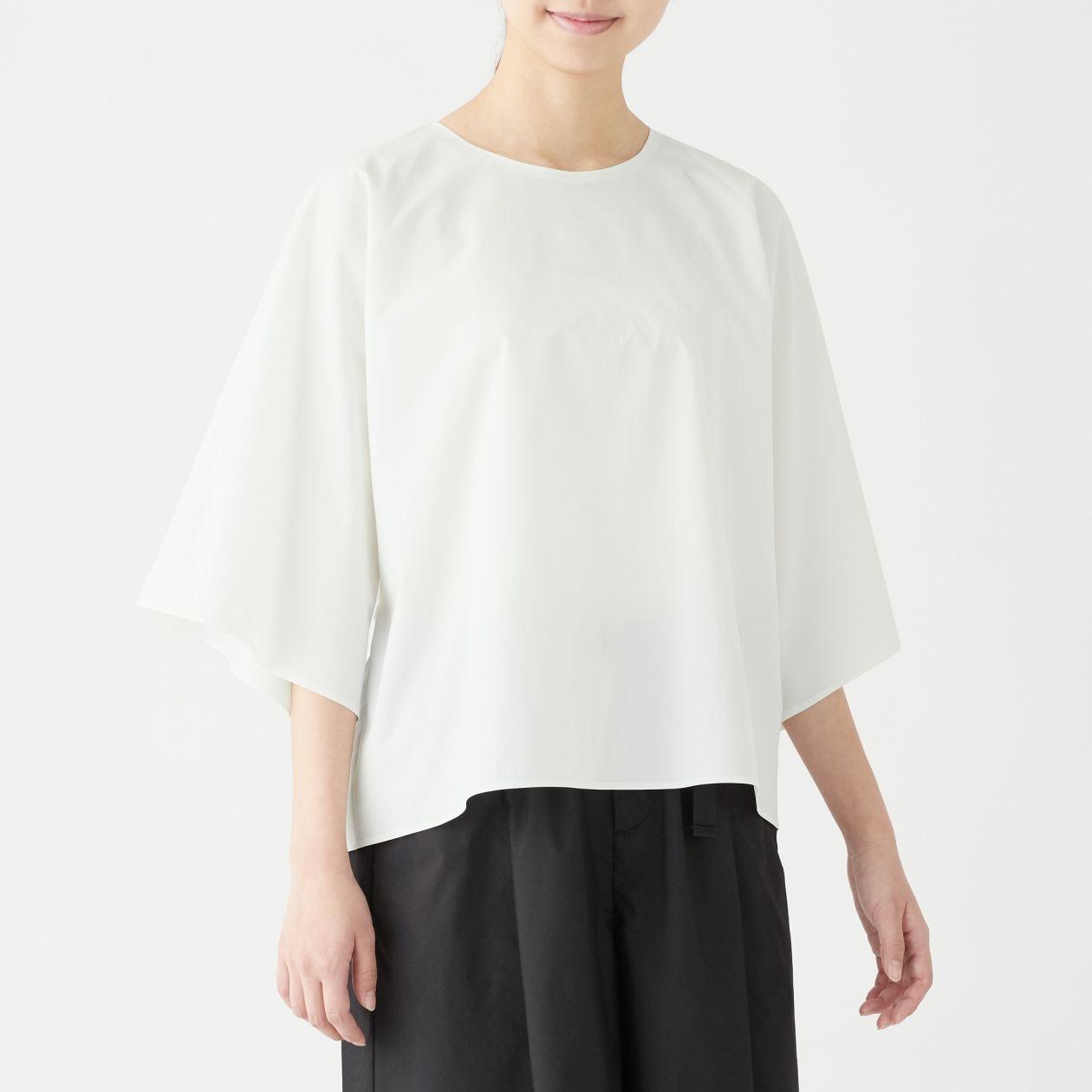 女速乾縱橫彈性聚酯纖維壓褶七分袖套衫 白色ONE SIZE | 無印良品