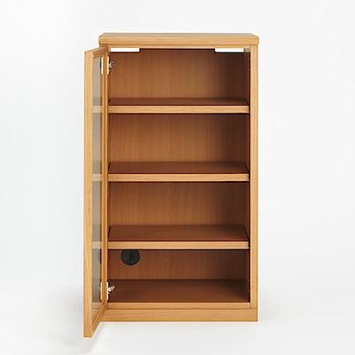 橡木收納櫃/玻璃門/窄 寬44x深44x高83cm | 無印良品