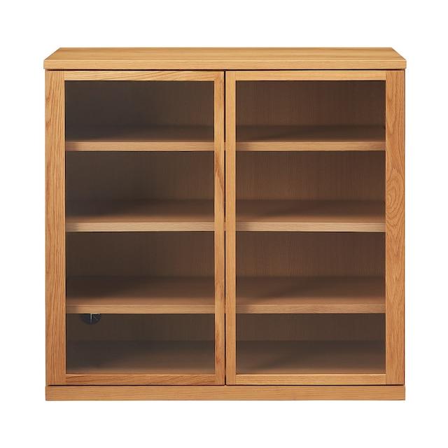橡木收納櫃/玻璃門 寬88x深44x高83cm | 無印良品