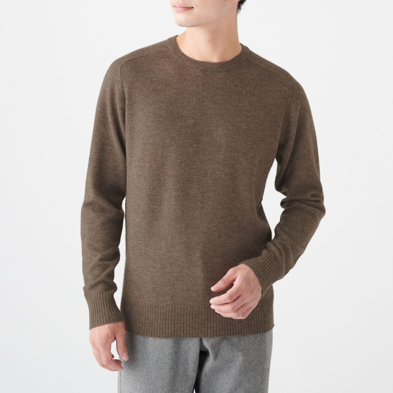 男氂牛毛混羊毛圓領針織衫 深摩卡棕L | 無印良品