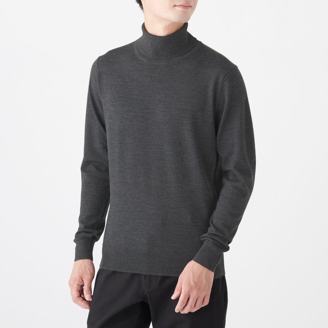 男不易刺癢羊毛天竺高領針織衫 墨灰S | 無印良品