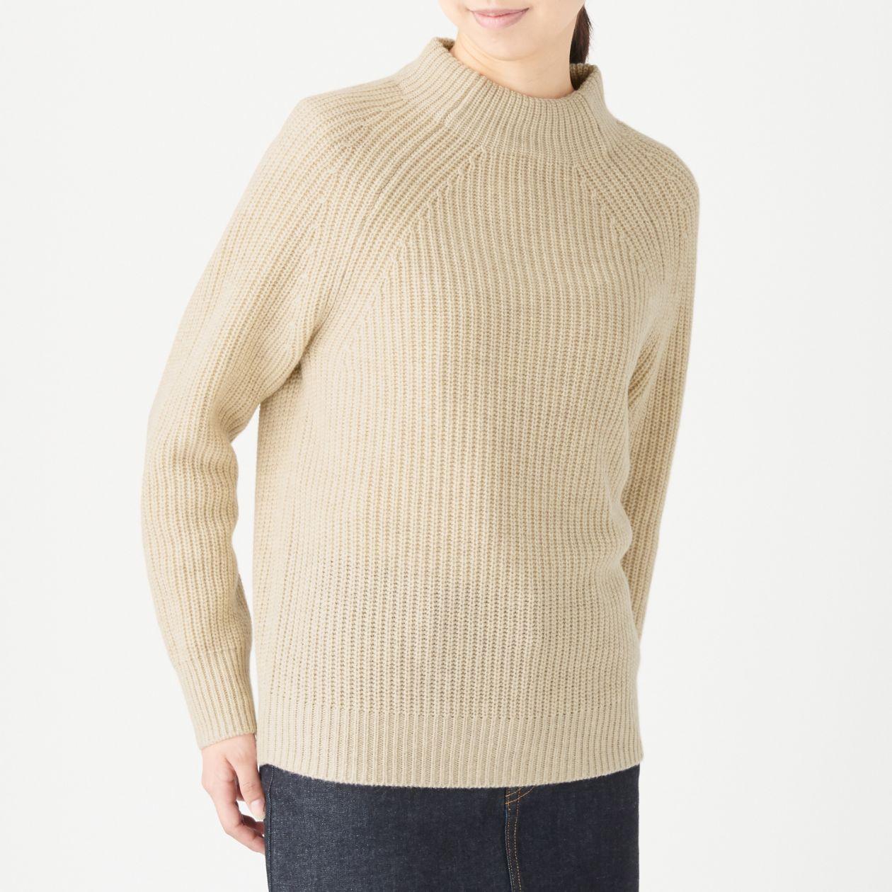 女氂牛毛混羊毛螺紋短領針織衫 粉米S | 無印良品