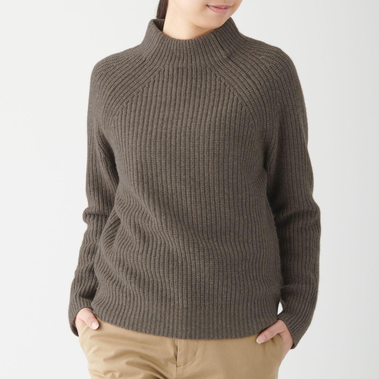女氂牛毛混羊毛螺紋短領針織衫 深摩卡棕S | 無印良品
