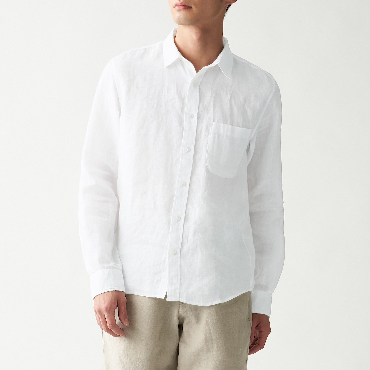 男法國亞麻水洗襯衫 白色XL | 無印良品