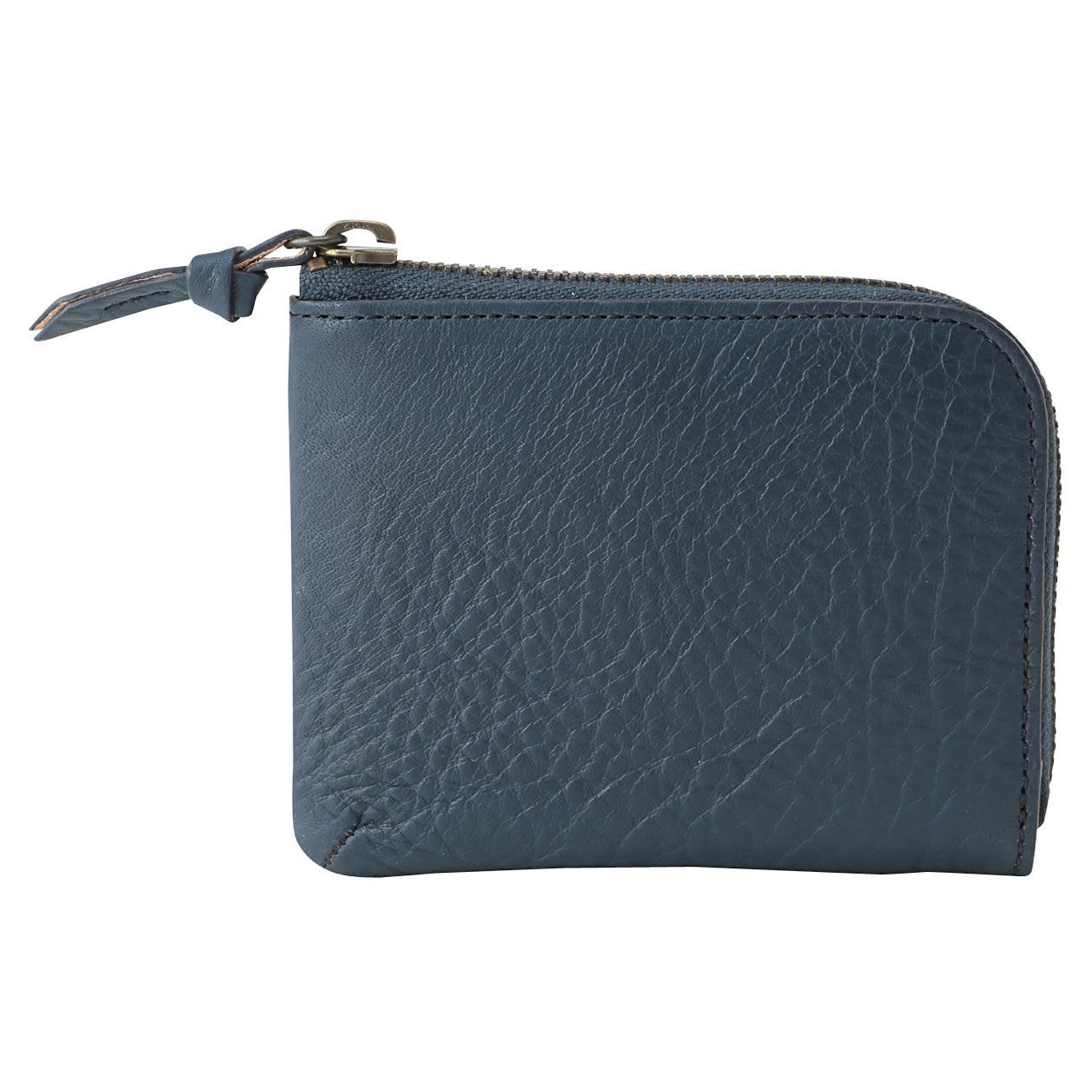 皺摺滑革L型拉鍊卡片零錢包 深藍 | 無印良品
