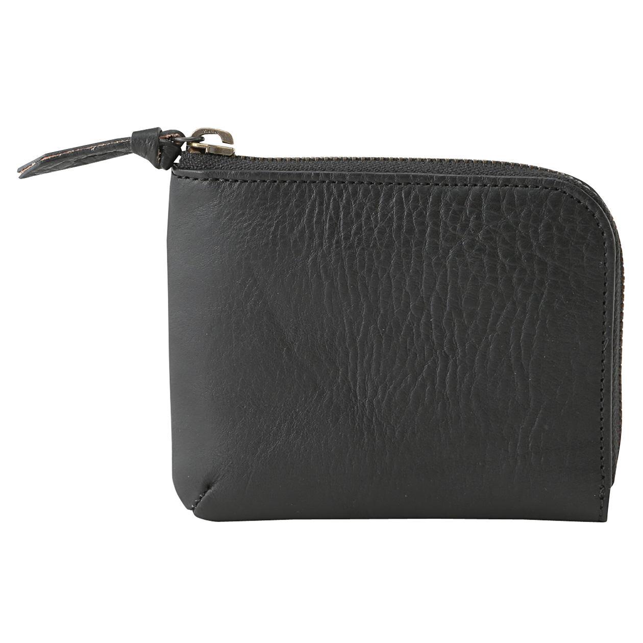 皺摺滑革L型拉鍊卡片零錢包 黑色 | 無印良品
