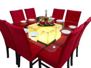 Comedor de lujo cristal con onix 8 sillas  Posot Class