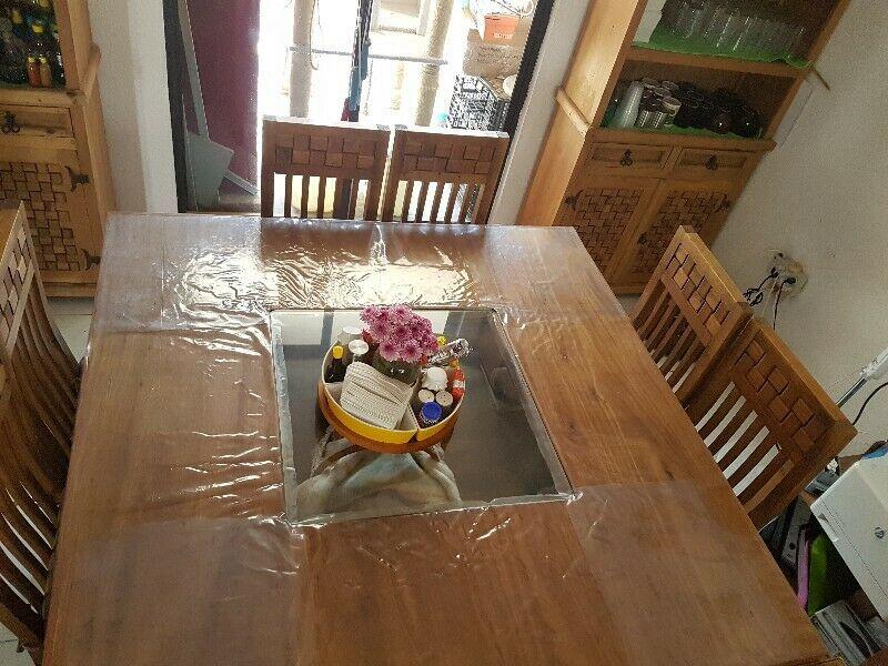 Comedor cuadrado chocolate moderno 8 sillas  Posot Class