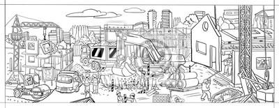 Bild Illustration Erbauer Bauen Häuser Schwarz Weiß Bild Zum Ausmalen