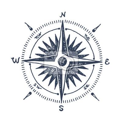 Kompass windrose hand gezeichnet vektor-design-element