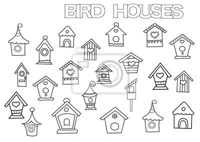 Hand gezeichnet vogelhäuser gesetzt malvorlage