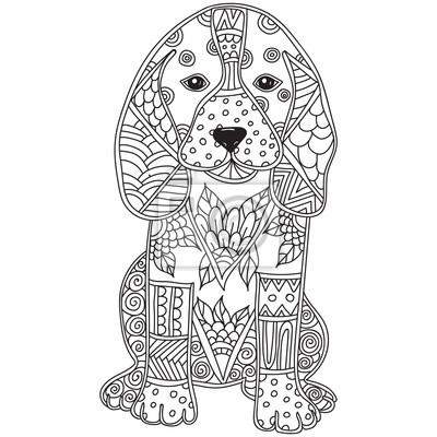 Hund erwachsenen antistress oder kinder malvorlage seite