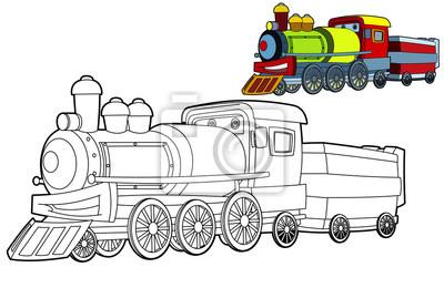 Malvorlage Zug Lokomotive - Zeichnen und Färben